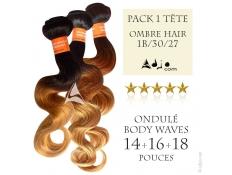 Pack 1 Tête de 3 Tissages brésiliens Ondulés Body 14-16-18 Ombre Hair 1B/30/27