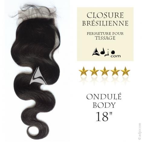 Closure (fermeture) Tissage brésilien Ondulé Body Vierge Remy - 18 pouces