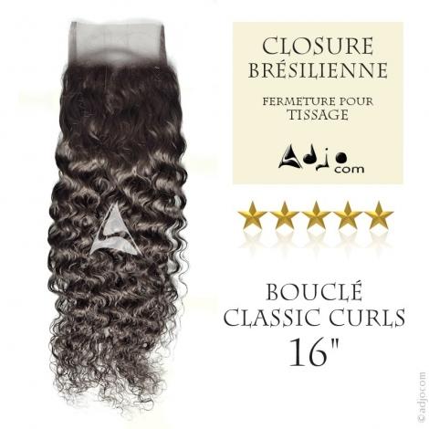 """Closure (fermeture) Tissage brésilien bouclé - Cheveux Naturels Vierge Remy 16"""""""