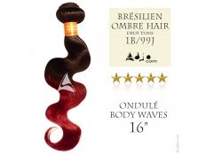 Tissage brésilien Ombre Hair 1B-99J - Cheveux Brésliens Naturels Vierges Remy Ondulés Body - 16 pouces