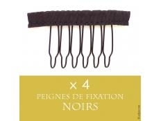 4 Petits Peignes Noirs pour Fixation Perruque ou Lace Wigs