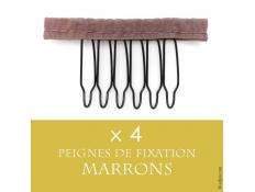 4 Petits Peignes Marrons pour Fixation Perruque Lace Wigs