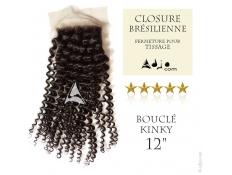 Closure (fermeture) Tissage brésilien bouclé Kinky Vierge Remy 12 pouces