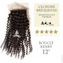 Closure Tissage brésilien bouclé Kinky Vierge Remy 12