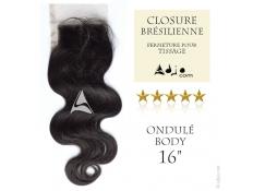 Closure (fermeture) Tissage brésilien Ondulé Body Vierge Remy - 16 pouces