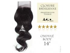 Closure (fermeture) Tissage brésilien Ondulé Body Vierge Remy - 14 pouces
