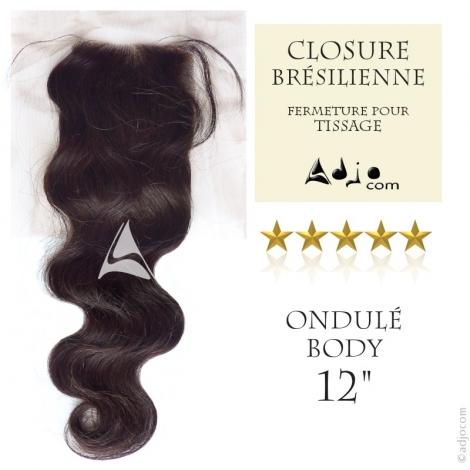 Closure Tissage brésilien Ondulé Body Waves Vierge Remy - 12 pouces