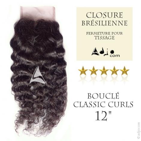 """Closure (fermeture) Tissage brésilien bouclé - Cheveux Brésiliens naturels Vierge Remy 12"""""""