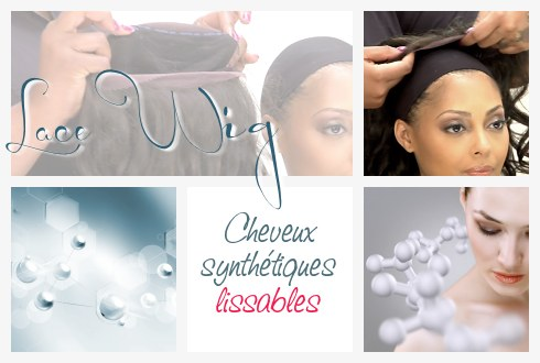 Perruque invisible Lace Wig Cheveux Synthétiques lissables