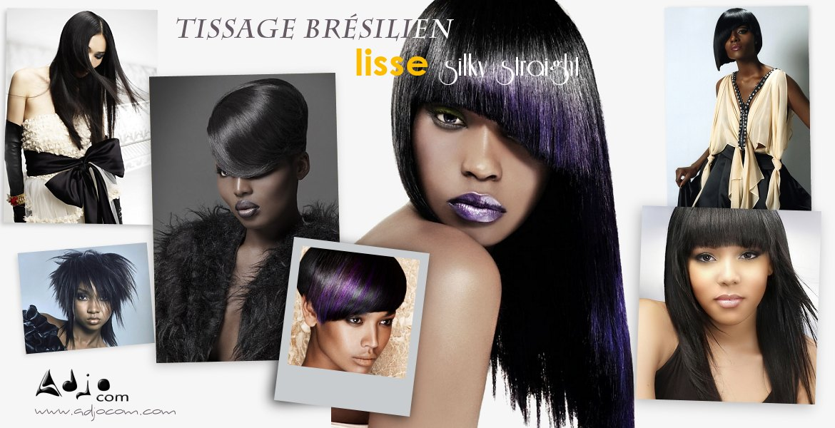 Tissage br silien lisse naturel silky straight haut de for Salon de coiffure tissage bresilien